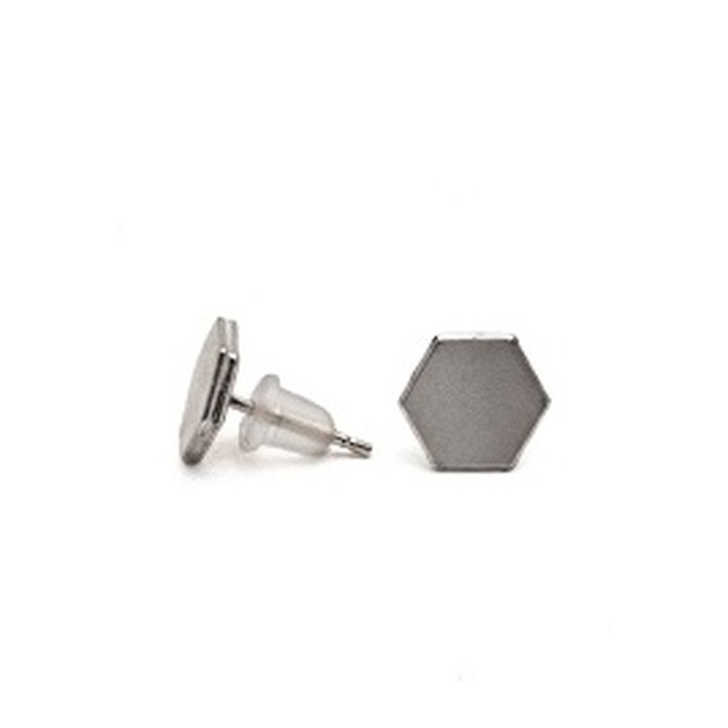 hexagon earrings - Silver