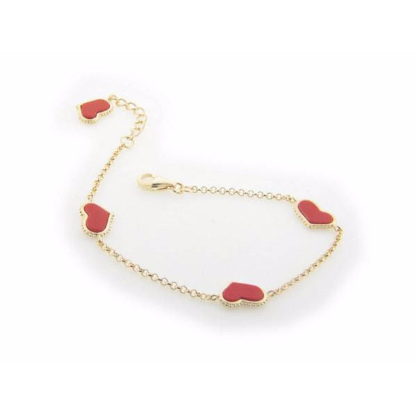 "Coral Heart Charms Bracelet in Gold Plating, 7"" + 1"" Extender"