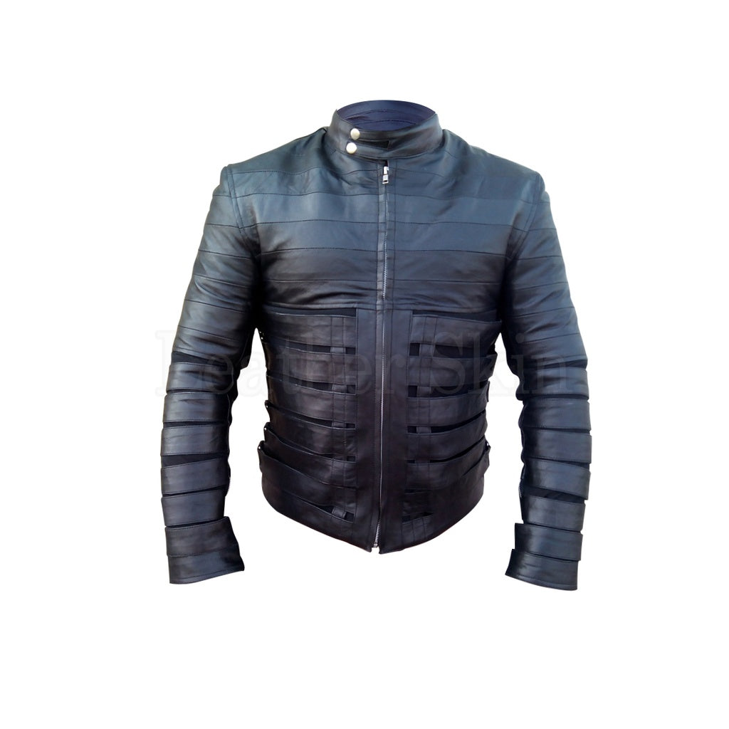 Men Black Leather Jacket with Belts