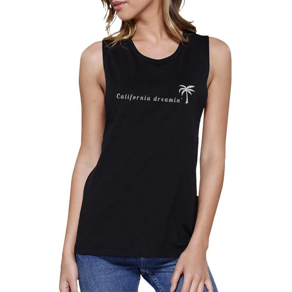 California Dreaming Womens Black Muscle Top Lightweight Summer Top