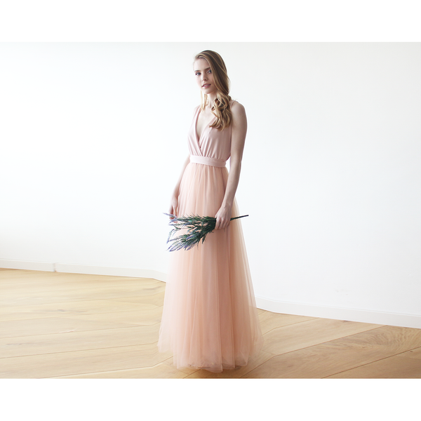 Pink Maxi Tulle Bridesmaids Gown 1084