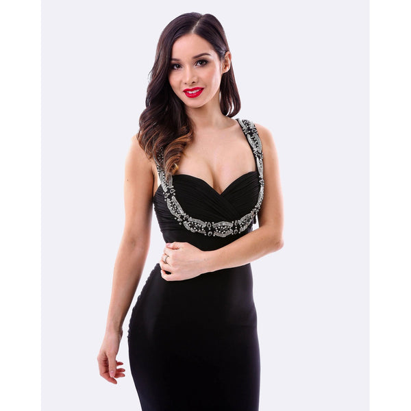 Beaded Evening Dress w/ Split - Black