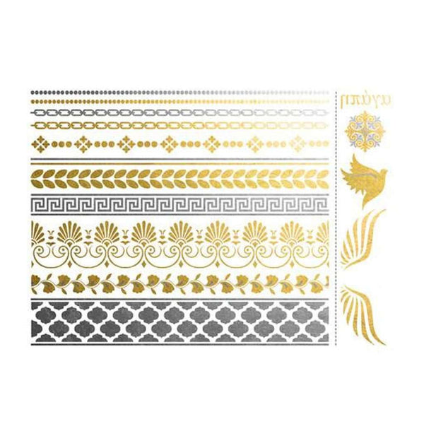 Silver and Gold Greek Bracelets and Wings Metallic Temporary Tattoo