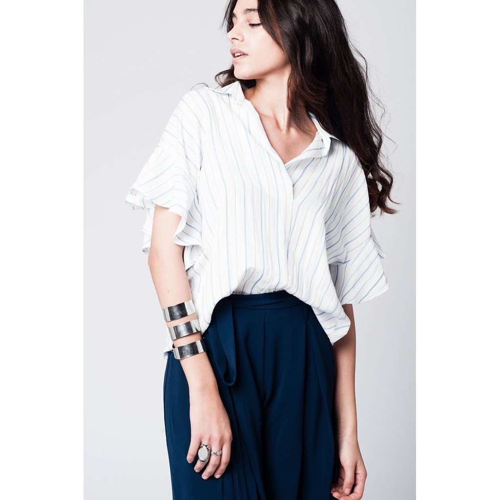 White stripes asymetric top with ruffles