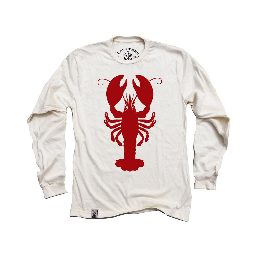 American Lobster: Organic Fine Jersey Long Sleeve T-Shirt in Unbleached Natural