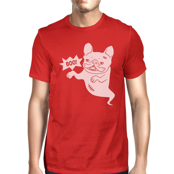Boo French Bulldog Ghost Mens Red Shirt