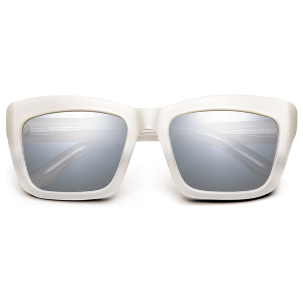 Bonnie: Polished Ivory Fade / Light Blue Chrome Flash Lens