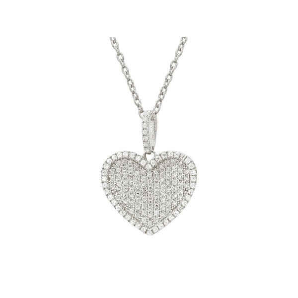 Platinum Plated Sterling Silver Eternal Love Micropave CZ Encrusted Heart Necklace