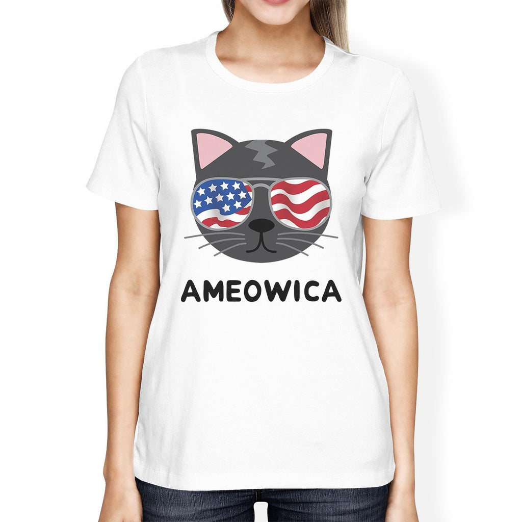 Ameowica Womens White Cat Design Tee Unique Design T-Shirt For Her