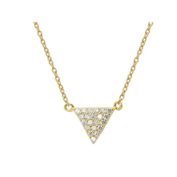 "Silver Gold Plated 8mm Each Side Triangle Cz Pave Pendant 15"" + 1""  Necklace"