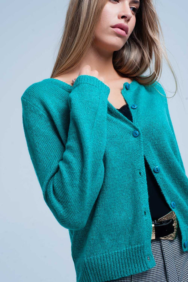 Green Glitter Knit Cardigan