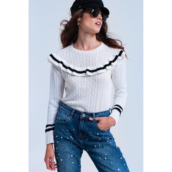 Cable knit cream sweater with ruffles