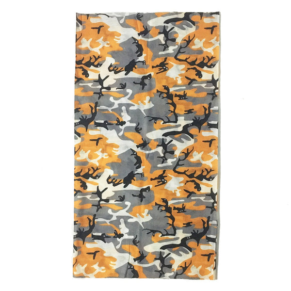 Orange Camouflage Seamless Bandana