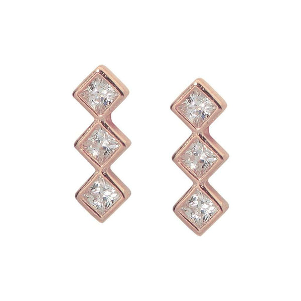 Sterling Silver Pink Rhodium Plated Trio CZ Gemstone Shaped Stud Earrings