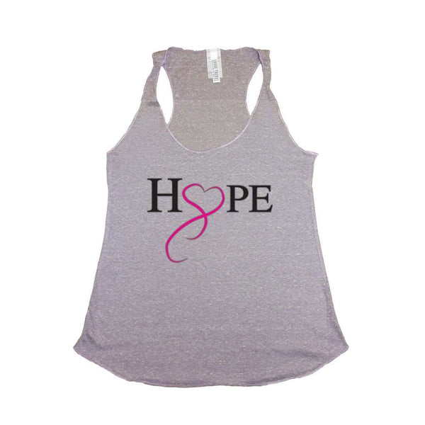 Women's HOPE & LOVE Breast Cancer Awareness Tri Blend Tank LILAC