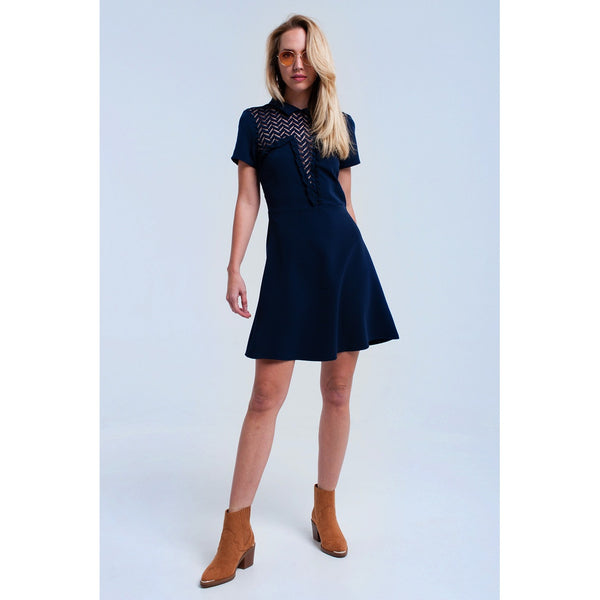 Navy mini dress with lace detail