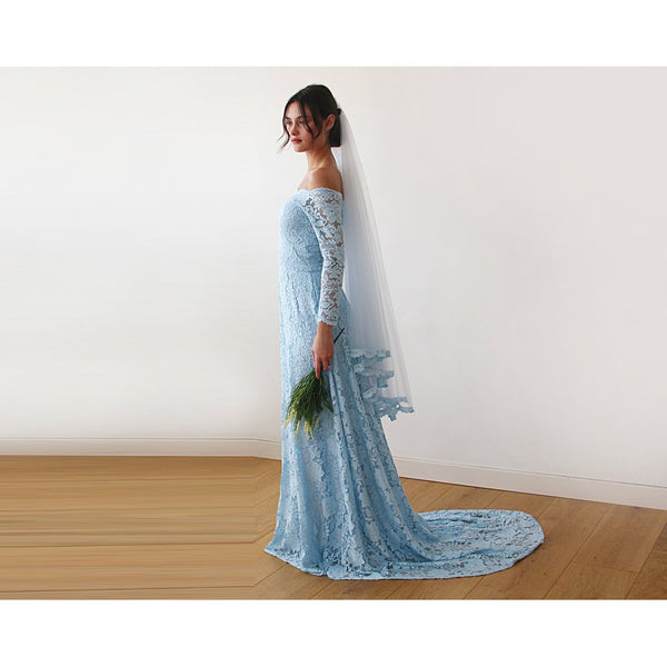 Light Blue Off-The-Shoulder Floral Lace Long Sleeve Gown With Train 1148
