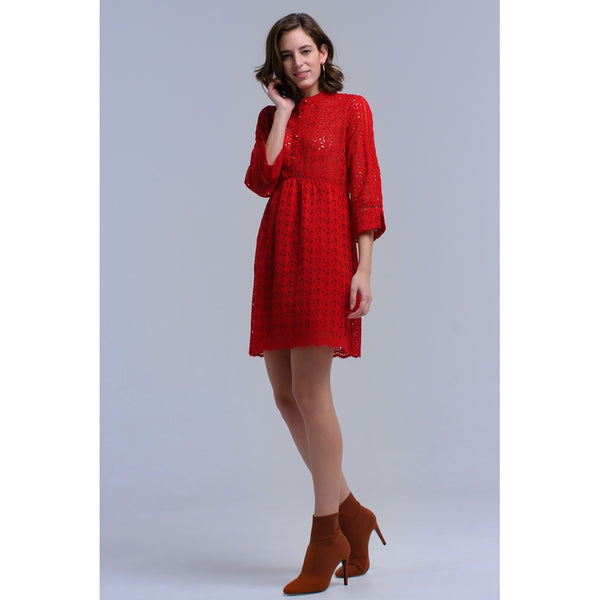 Red midi dress with crochet