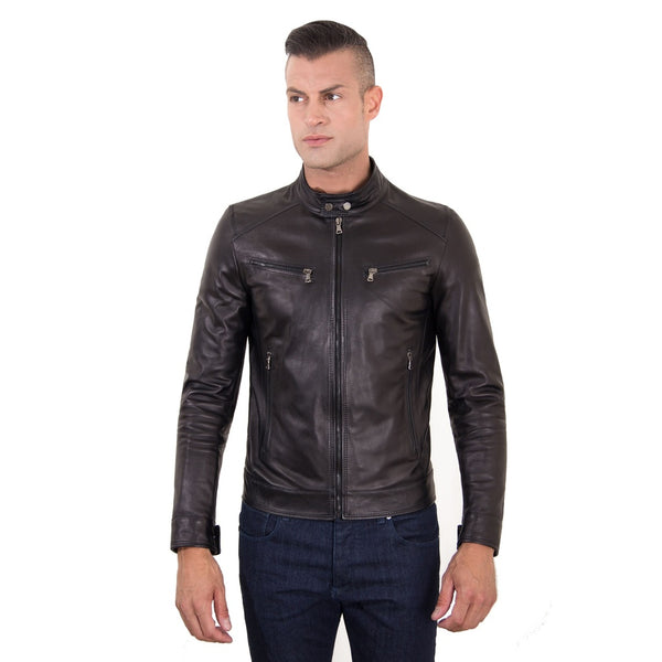 Men's Genuine Leather Biker Jacket Black Color