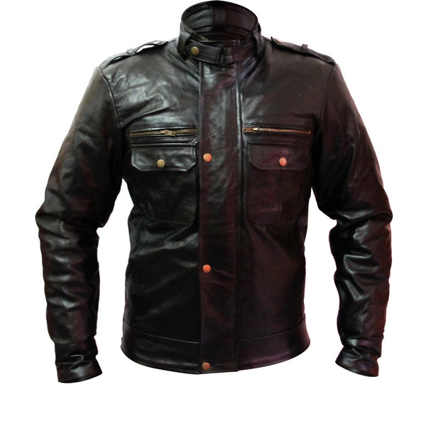Men Red Black Genuine Leather Jacket
