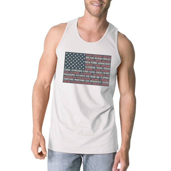 50 States Us Flag Mens White Tank Top Funny 4th Of July Cotton Tank