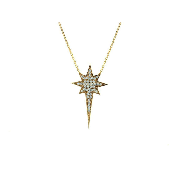 "Silver Gold Plated 1.25"" North Star  Clear Cz Pendant  16"" + 2"" Necklace"