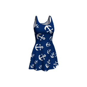 Anchor Pinwheel Flare Dress - Navy