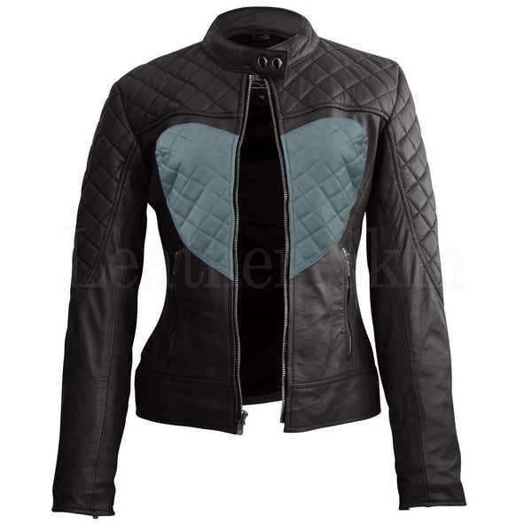 Women Black Gray Heart Leather Jacket
