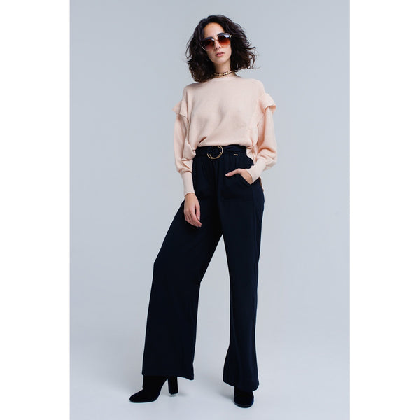 Navy pants with buckles