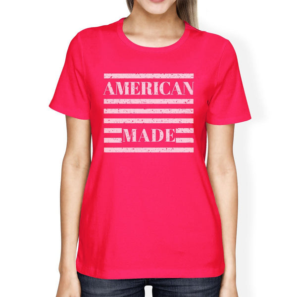 American Made Womens Hot Pink Graphic T-Shirt Unique Design Top