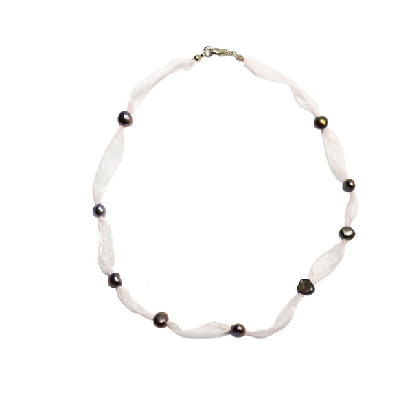 Innocence Pearl and Ribbon Necklace