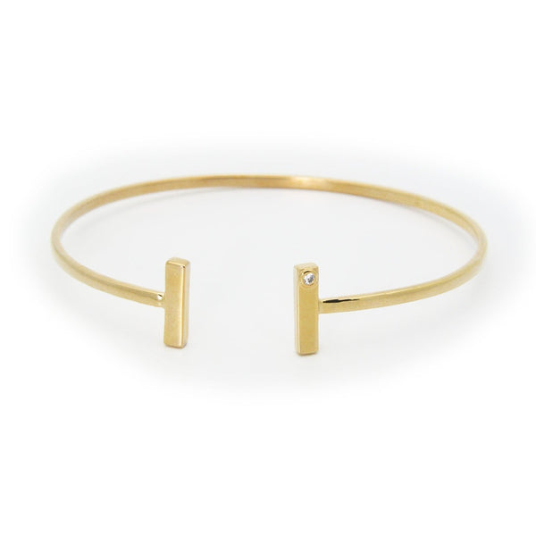 "Open Bangle Bracelet ""T"" Ends Cz in Gold Plated Sterling Silver"