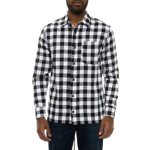 High-Low Fishtail Flannel Button Down in Black/White