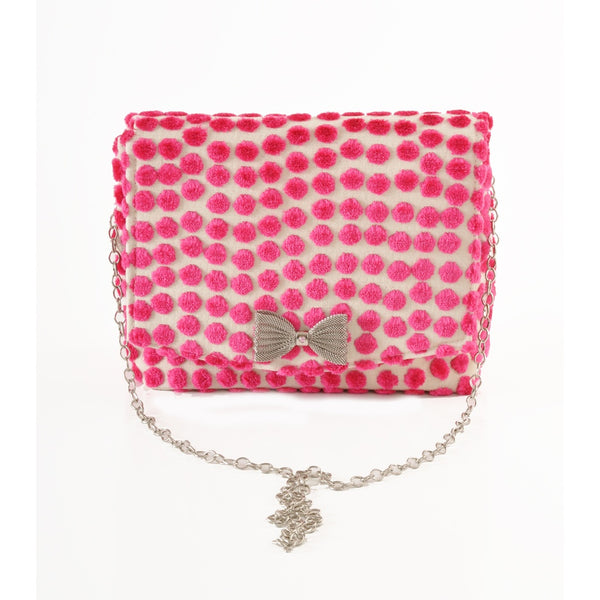 Polka Dot Pink square clutch