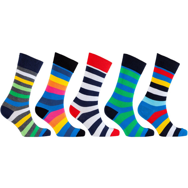 Men's 5-Pair Funky Striped Socks-3068