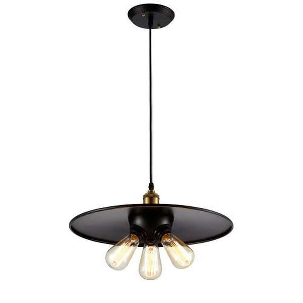 "Vintage Factory 3 Bulb Pendant Light 17.5"" - Bulb Included, Matte Black/Antique Brass"