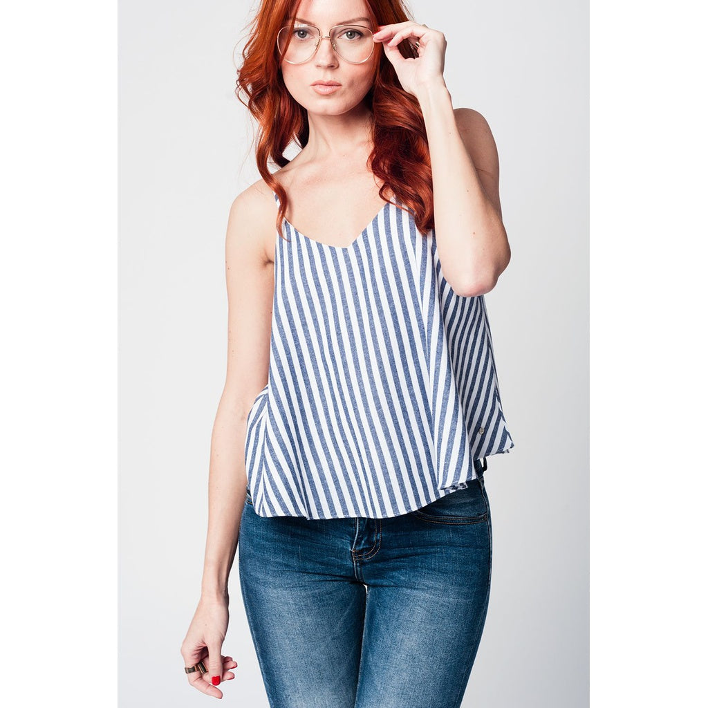 Navy blue striped cami top with V neckline