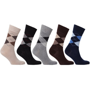 Men'S 5-Pair Classic Argyle Socks-3001