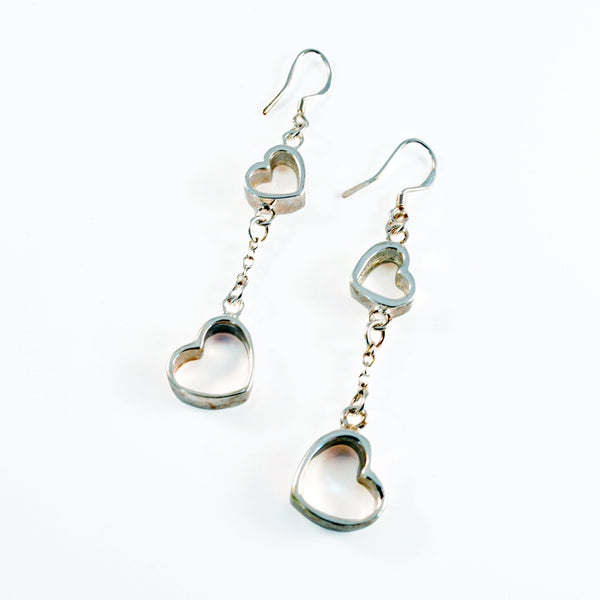 Linked Hearts Sterling Silver Earrings