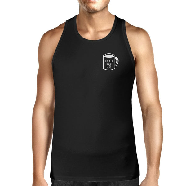 Coffee For Life Mens Sleeveless Black Tank Top For Coffee Lovers