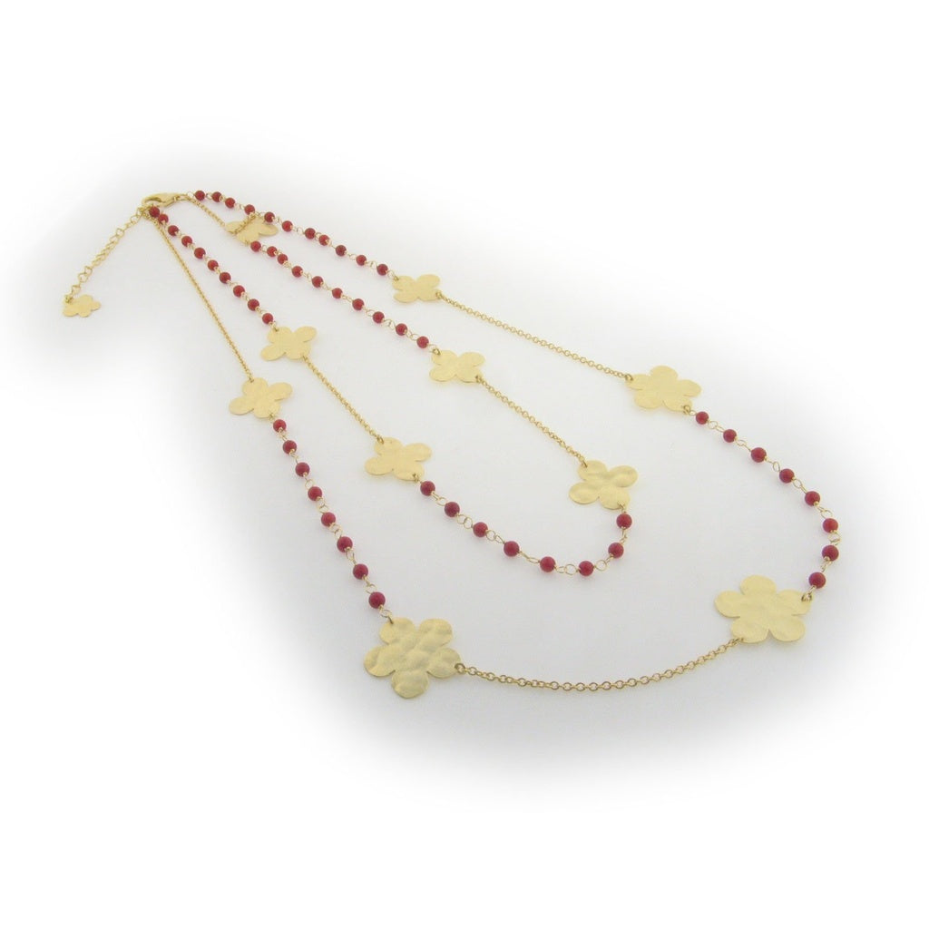 18k Gold Plated Silver Double Strand Fronay Hammered Flower & Red Coral Necklace, 18""