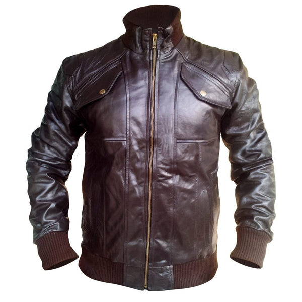 Brown Men Front Up Collar Leather Jacket