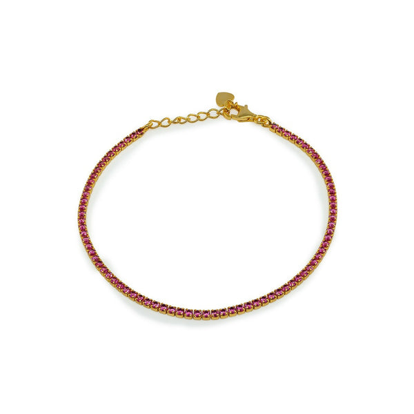 Mini Red Ruby CZ Tennis Bracelet   Gold Plated Sterling Silver