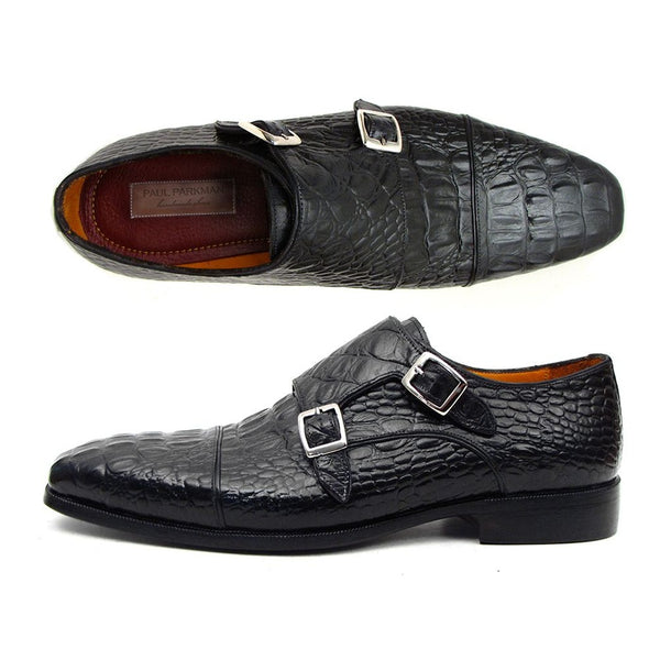 Paul Parkman Double Monkstraps Black Crocodile Embossed Calfskin (ID#045BK41)