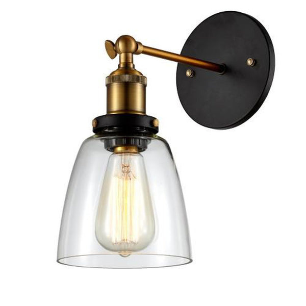 Edison Simple Glass Wall Mount Sconce - Bulb Included, Clear/Antique Brass