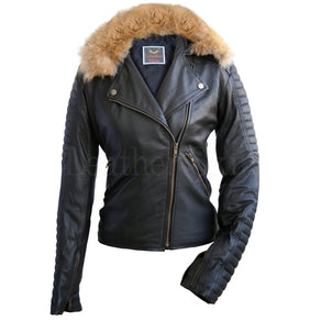 Black Womens Fox Fur Leather Jacket