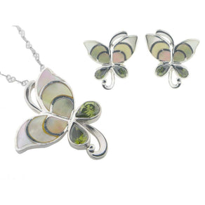 Vintage Butterfly Mother of Pearl Earring and Pendant Set   925 Sterling Silver Cubic Zirconias