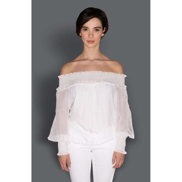 Silk Chiffon Off Off-The Shoulder Top