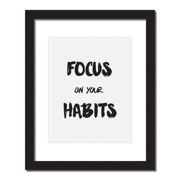 Inspirational quote print 'Focus on your habits'
