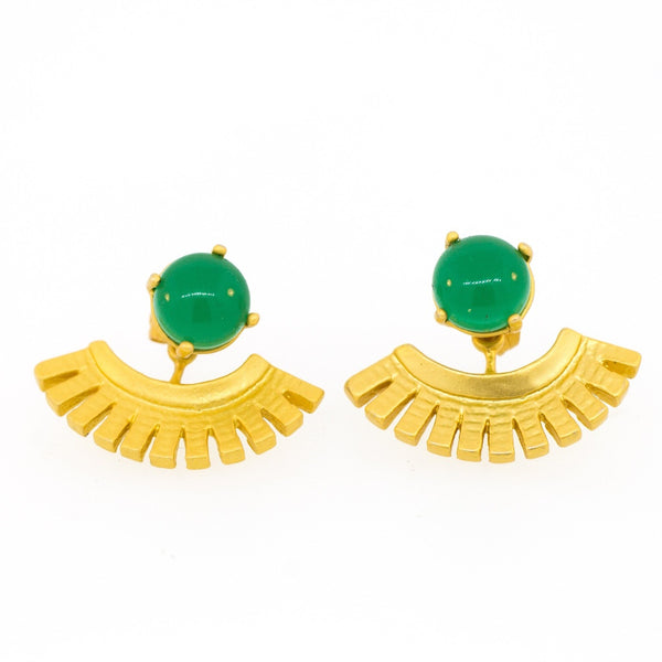 Green Onyx Egyptian Ear Jackets